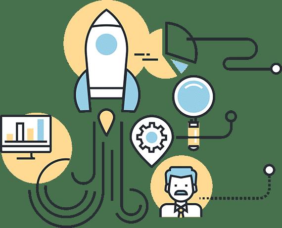 ilustración ordenador y cohete